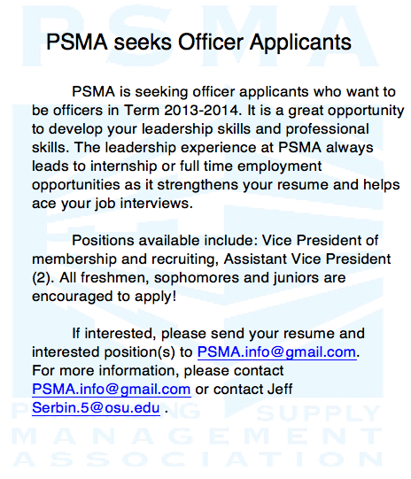 PSMA seeks officer applicants!